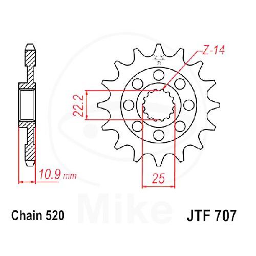 Ritzel Rac 16Z Teilung520