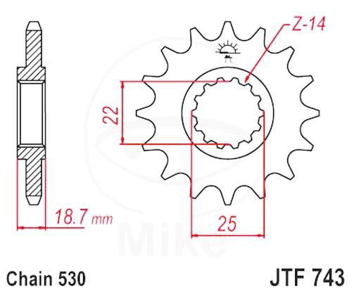 Ritzel 14Z Teilung 530