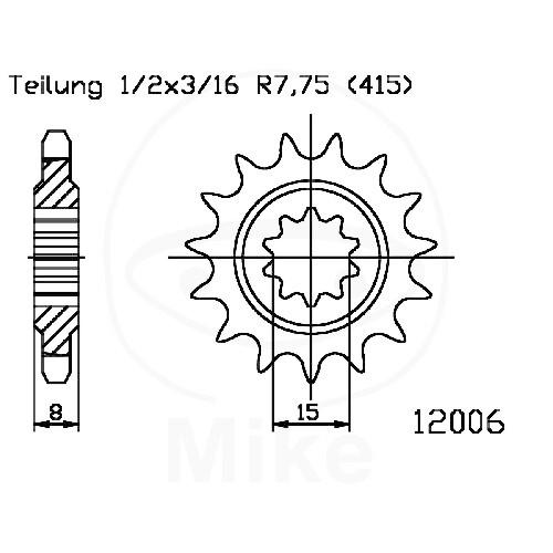 Ritzel 13Z Teilung 415